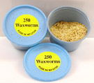 500 Wax Worms packed in 2 plastic containers.